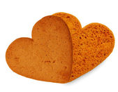 Sweet heart, two cookies isolated on white — Stock Photo