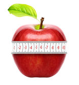 Red apple with measurement isolated on white — Stock Photo