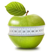 Green apple with measurement isolated on white — Stock Photo