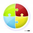 Circle puzzle illustration.Each piece is editable — Stock Photo