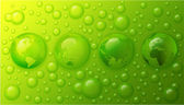 Water drops with globe of the world on lime green background — Stock Photo