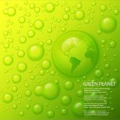 Water splash with globe of the world in drop on lime green background. — Stock Photo