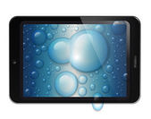 Fictitious design tablet with water drops background — Stock Photo