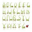Green grass vector alphabet with reflection. — Stock Vector #26909155