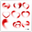 Vector collection of different types of red hearts. — Stock Vector