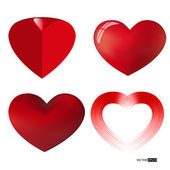 Vector collection of different types of red hearts. — Stock vektor