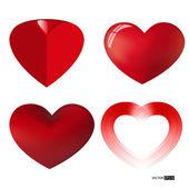 Vektor samling av olika typer av röda hjärtan. — Stockvektor