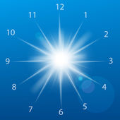 Vector illustration of clock sun on a blue background. — Stock Vector