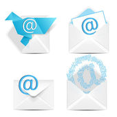 E почты концепции набор. вектор белый конверт с знак икона электронной почты. — Cтоковый вектор