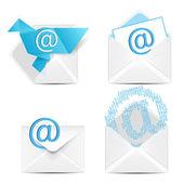 E posta kavram kümesi. e-posta işareti simgesi olan beyaz vektör zarf. — Stok Vektör