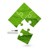 Puzzle vector green leaf macro background. — Stock Vector