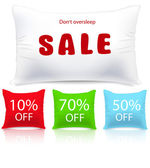 Vector pillows as sale or discount tags isolated — Stock Vector