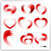 Coleção de vetores de diferentes tipos de corações vermelhos. — Vetorial Stock
