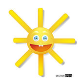 Cartoon happy yellow sun. — Stock Vector