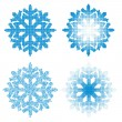 Set of different dotted snowflakes isolated on white background. — Stock Vector