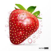 Strawberry macro isolated on white — Stock Vector