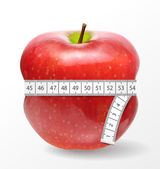 Red apple with measurement isolated on white. Vector illustration. — Stock Vector