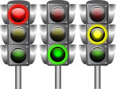 Vector illustration of three traffic lights isolated. — Stock Vector