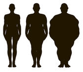 Vector women silhouettes from thin to fat. — Stock Vector