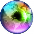 Earth Globe in multicolor human eye — 图库矢量图片