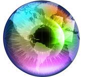 Earth Globe in multicolor human eye — Stock Vector