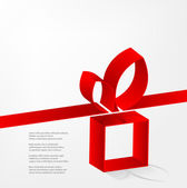 Red ribbon with a bow over gift box — Stock Vector
