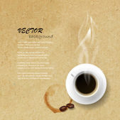 Coffee cup against paper texture — Stock Vector