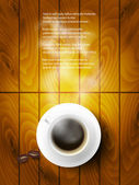 Coffee cup against wooden background — Stock Vector