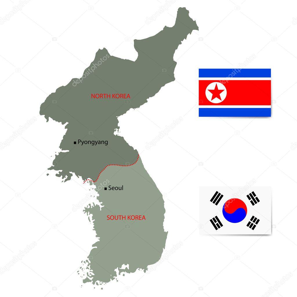 朝鲜和韩国矢量地图与孤立在白色背景上的标志 — 图库矢量图片