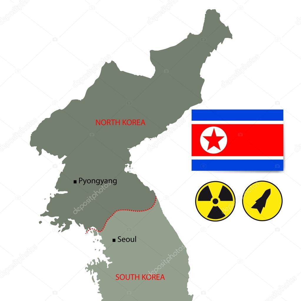 朝鲜矢量地图标志和核符号
