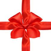Red satin ribbon and bow — Stock Photo