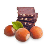 Chocolate pieces with hazelnuts — Stock Photo