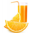 Orange fruit and juice isolated — Foto Stock