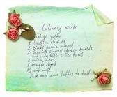 Old paper sheet with cooking recipe. — 图库照片