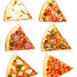 Pizza slice with different toppings — Stock Photo #33620269