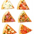 Pizza slice with different toppings — Stock Photo