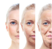 Woman's portrait 20,40,60 years old. — Stock Photo