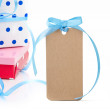 Gift boxes and tag — Stock Photo