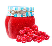 Raspberry jam in glass bowl. — Stock Photo