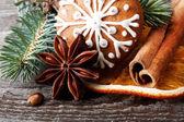 Sneeuwvlok peperkoek cookie en specerijen — Stockfoto