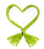 Green wool scarf heart shape — Stock Photo