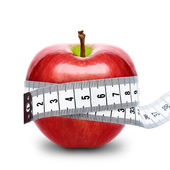 Red apple with measurement isolated — Stock Photo