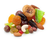 Mix dried fruits and nuts isolated — Stok fotoğraf