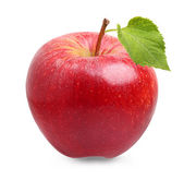 Red apple fruit with leaf — Stock Photo