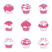 Sweet muffin collection line — Stock Vector