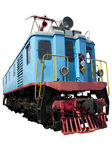Old blue locomotive — Stock Photo