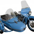 Blue motorcycle with sidecar — Stock Photo