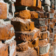 Red brick wall in perspective — Stock Photo