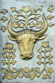 Decorative bas-relief with a buffalo — Stockfoto