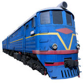 Blue locomotive in perspective — Stock Photo